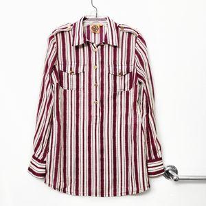 Tory Burch Burgundy Maroon Stripe Button Blouse 6